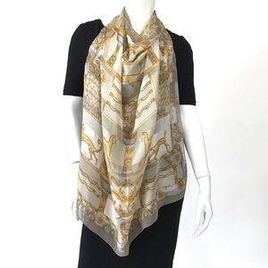 "LANVIN 34""x34"" square silk scarf euro cat print"